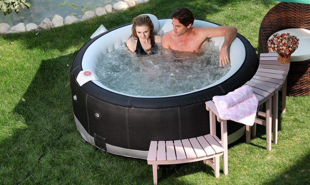 AQUA JET SPA REGAL DELUXE SYNTHETIC LEATHER BLACK SILVER PORTABLE INFLATABLE HOT TUB