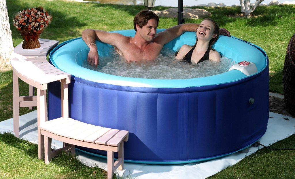 AQUA JET SPA IMPERIAL DELUXE SYNTHETIC BLUE PORTABLE INFLATABLE HOT TUB