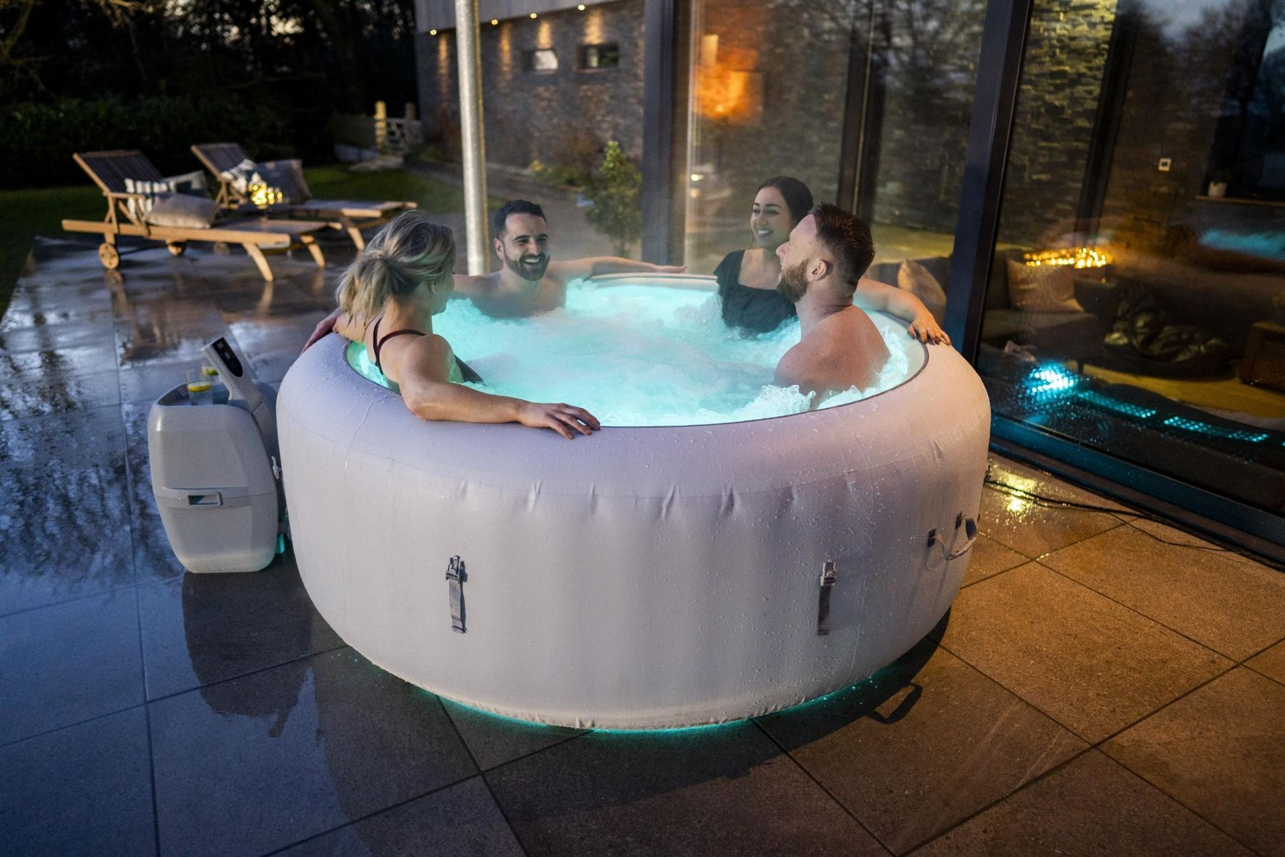 Lay-Z-Spa Paris Hot Tub with Built In LED Light System